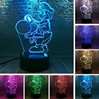 Fanrui Game Super Mario Bros - Ride a Yoshi Dinosaur Action Figure Lamp - 3D LED Bedroom Table Home Hot Decor - 7 Colors…