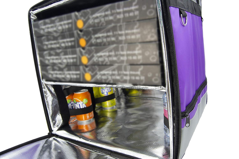 Bevande Viola Pizza Hamburger Lollipoper:Zaino isotermico 45x45x45 cm per Consegna a Domicilio di Ordini Alimentari da Moto e Bicicletta