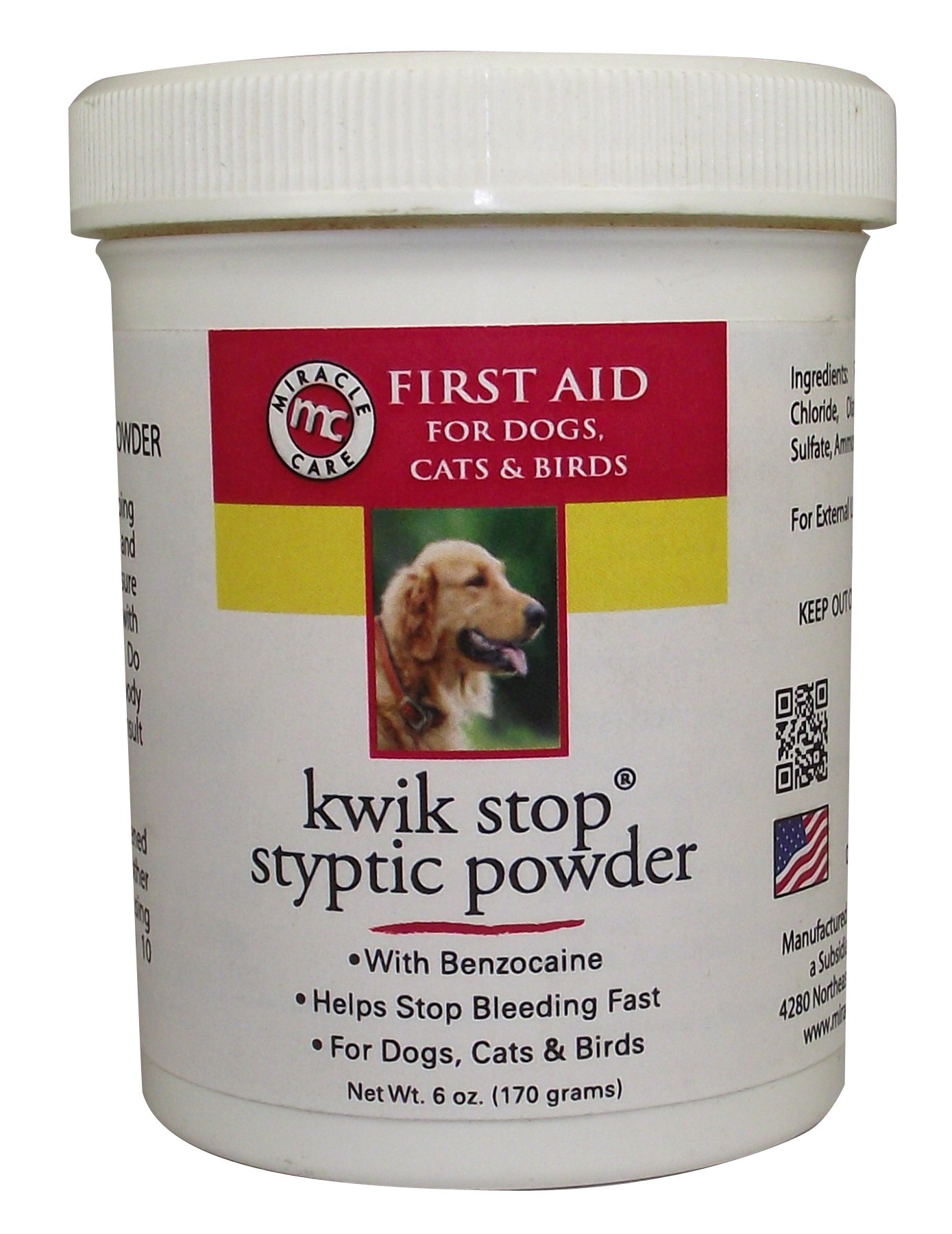 Miracle Care 423636 Kwik-Stop Styptic Powder 6 Ounce Resealable Tub by Miracle Care
