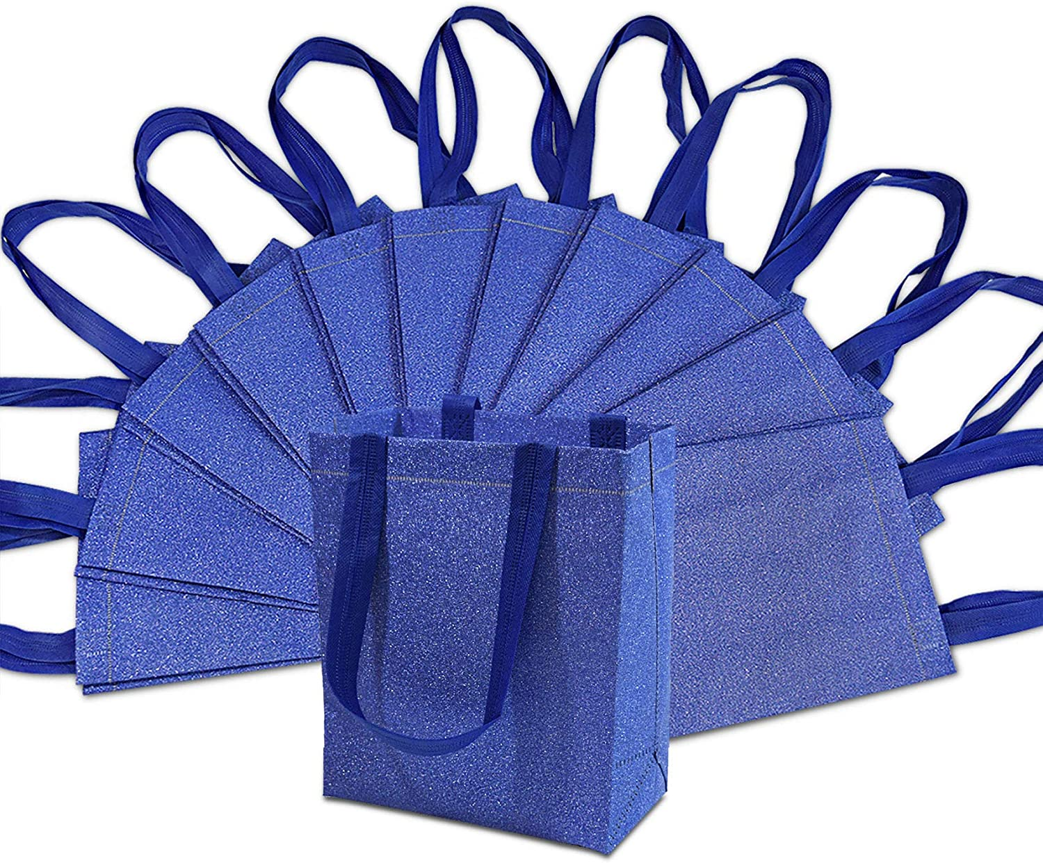 Medium-Small Metallic Blue Reusable Glitter Gift Bags with Handles, Birthday Party Favor Bags Bags for Weddings, Holidays and All Occasions 12 Pcs. 8x4x10