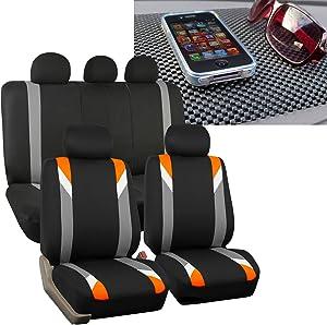 FH Group FH-FB033115 Three Row- Premium Modernistic Seat Covers Orange/Black FH1002 Non-Slip Dash Pad- Fit Most Car, Truck, SUV, or Van