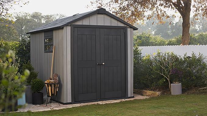 Keter Duo Tech Oakland 759 dispositivo Jardín Casa plástico dispositivos de aspecto de caseta Madera 229 x 242 x 287 cm: Amazon.es: Jardín