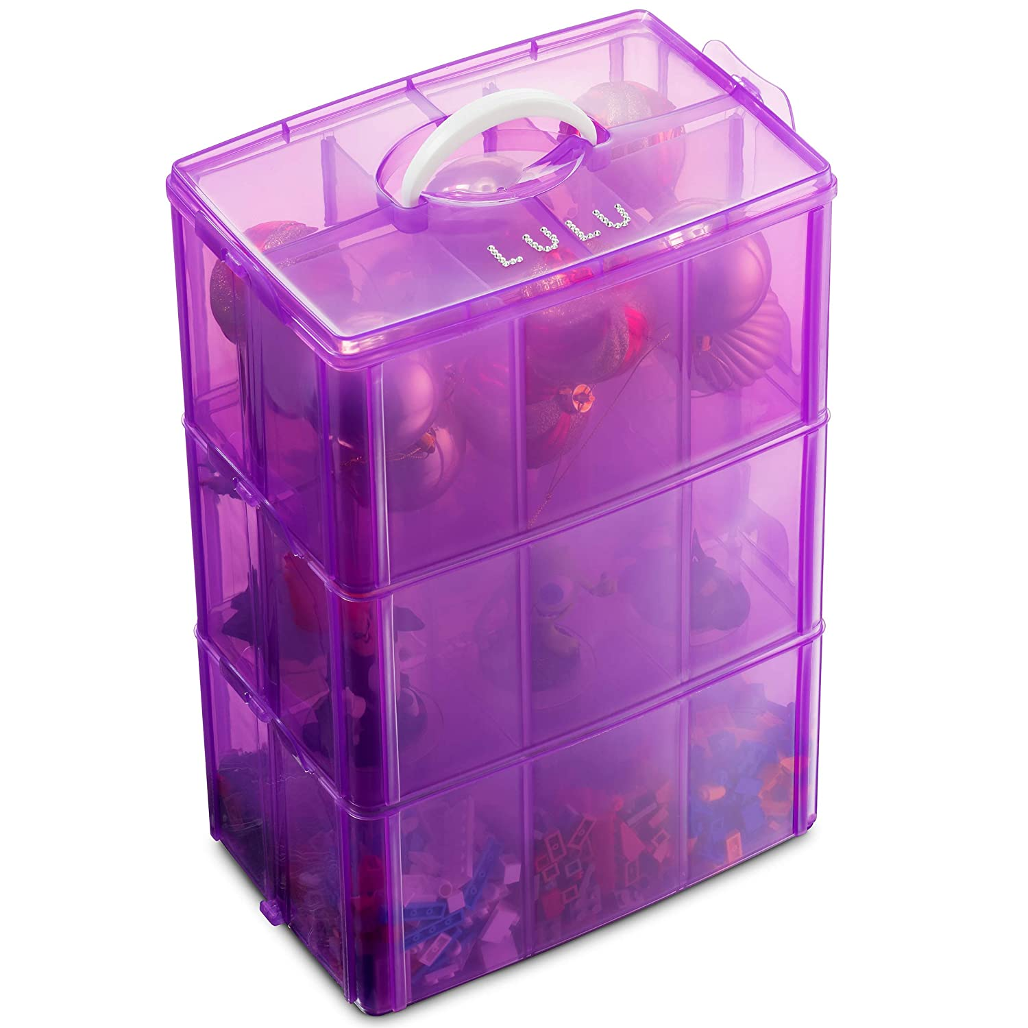 B07XYDWCZ8 LifeSmart Medium Size Christmas Ornaments Storage Stackable Compatible with Lego Dimensions, Characters, LOL Dolls and More 81q32B6DiQTL