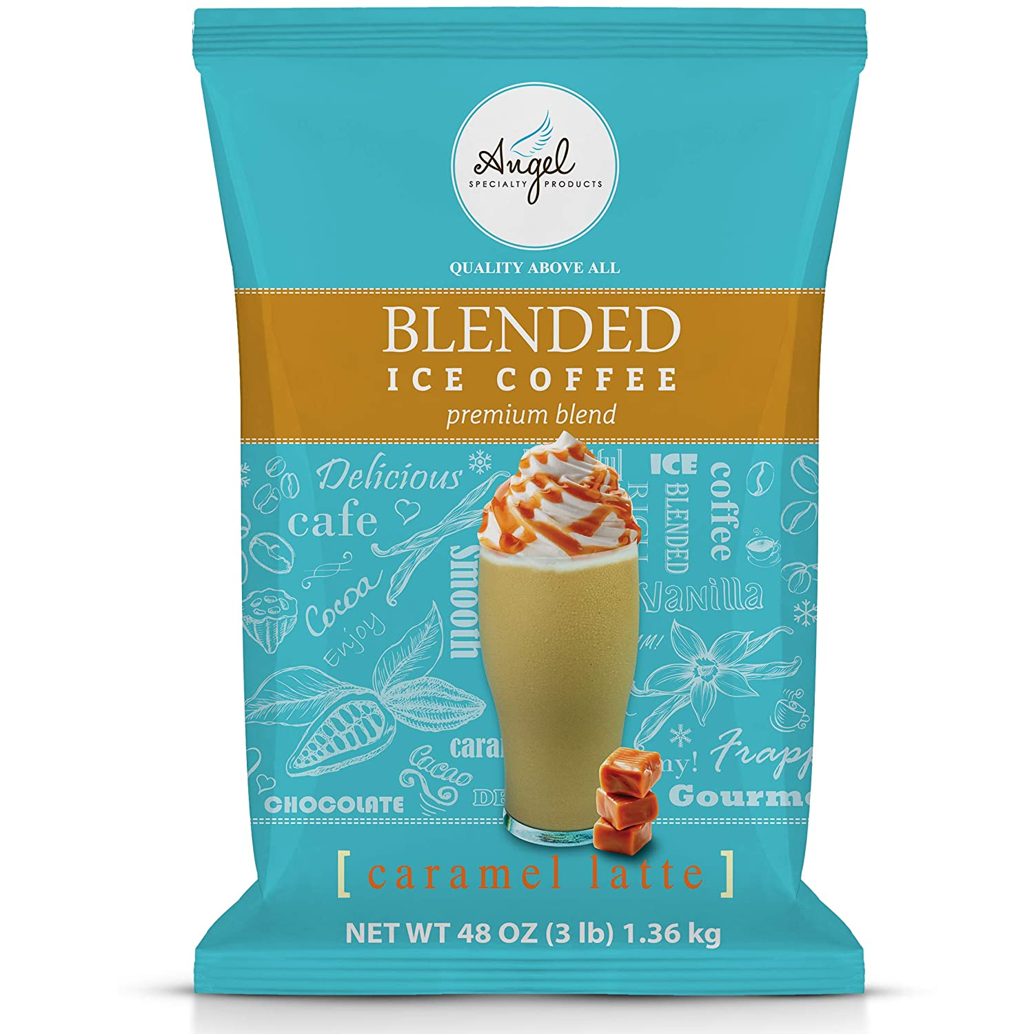Angel Specialty Products, Blended Ice Coffee, Instant Frappe Powder Mix, 3-Pound Bag, Caramel Latte [34 Servings]