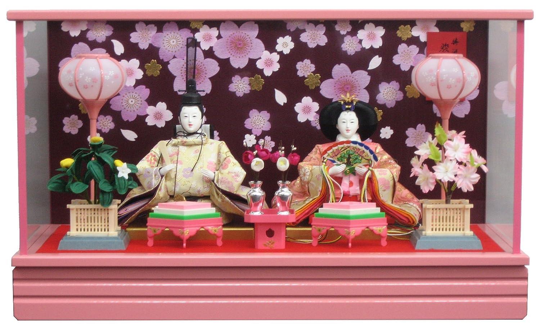 [雛人形 ひな人形 ケース飾り] 間口60cm 三五親王ケース 桜もようピンク塗   B01NAWL9A5
