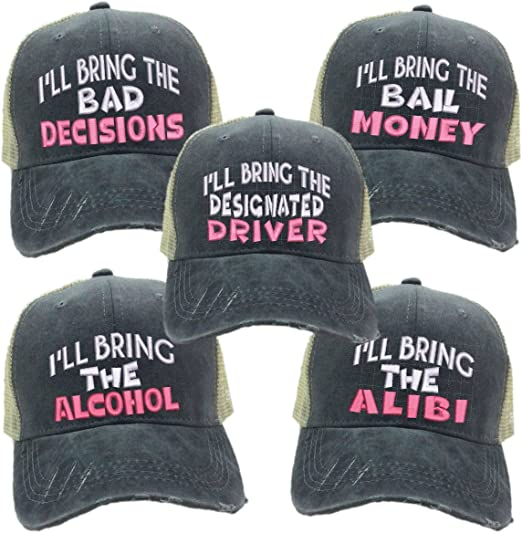 Custom Hats Bring The Alcohol Bad Decisions Trucker Party Distressed Ball Cap