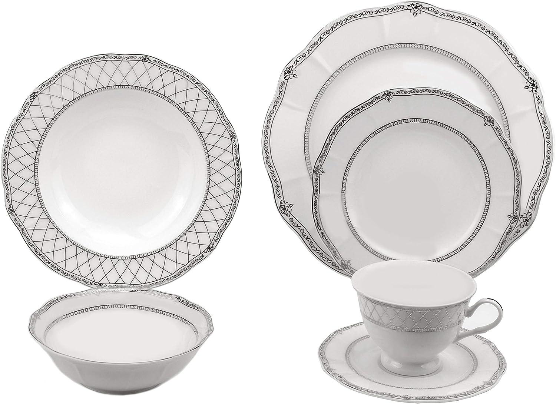 Lorren Home Trends Flower Shape Dinnerware Set, Silver