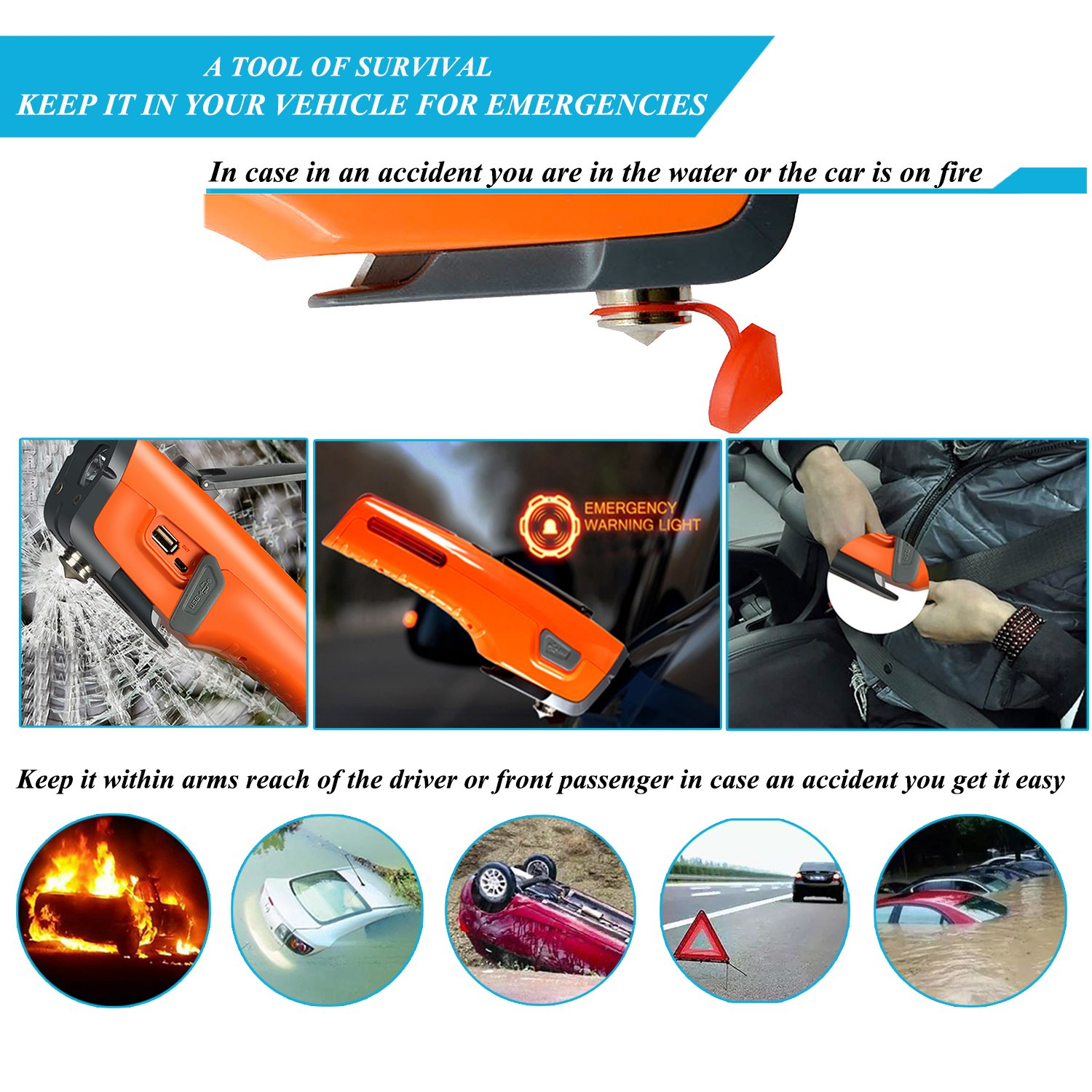 Ltd LX-1084-F LUXON Emergency Tool 7-in-1 Car Safety Tool Includes Window Hammer Seat Belt Cutter LED Flashlight Rescue Tool Contains USB Charger SOS Light /& Hand Cranking Charge for Vehicle Escape//Field Survival ZH Electronic Co
