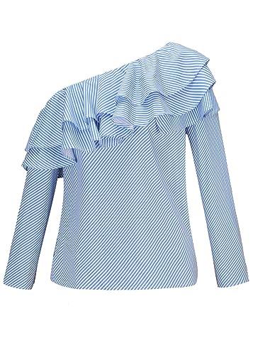 Mujeres de manga larga de rayas a cuadros Frill Un hombro de camisa de volantes Tops Blusa