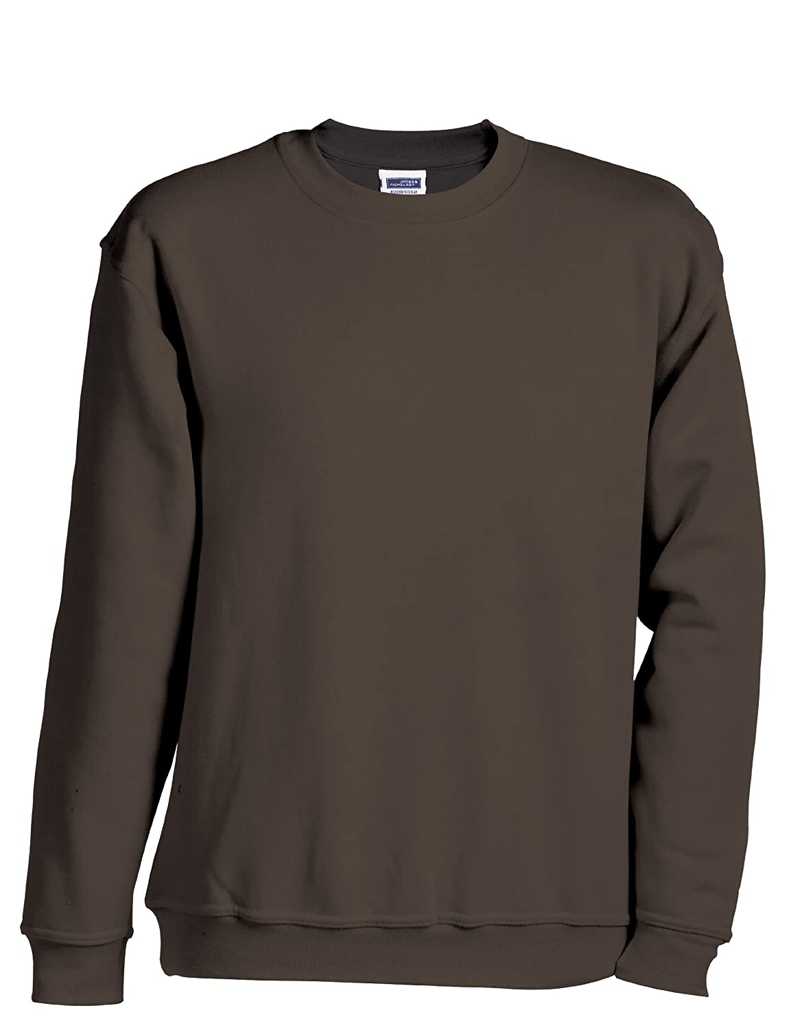 James & Nicholson Herren Sweatshirt Round Sweat Heavy 3XL, Braun - Braun JN040