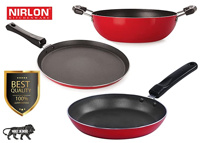 Nirlon Non-Stick Aluminium Cookware Set, 3-Pieces, Red (2.6mm_FT12_KD12_TP) Pot & Pan Sets at amazon