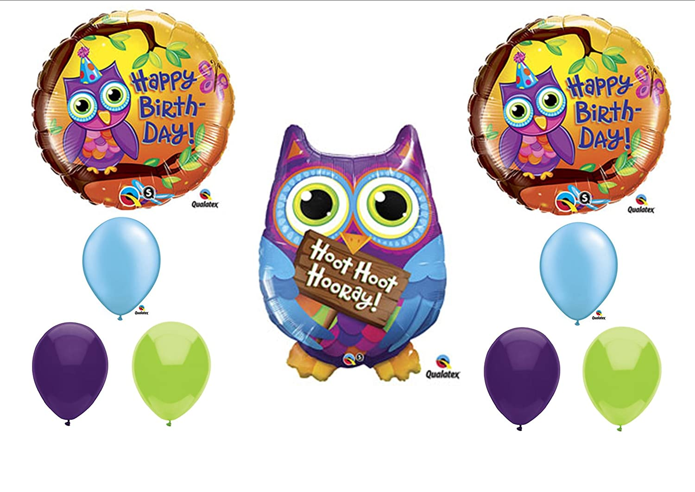Amazoncom Hoot Hoot Owl Happy Birthday Balloon Party Set Mylar