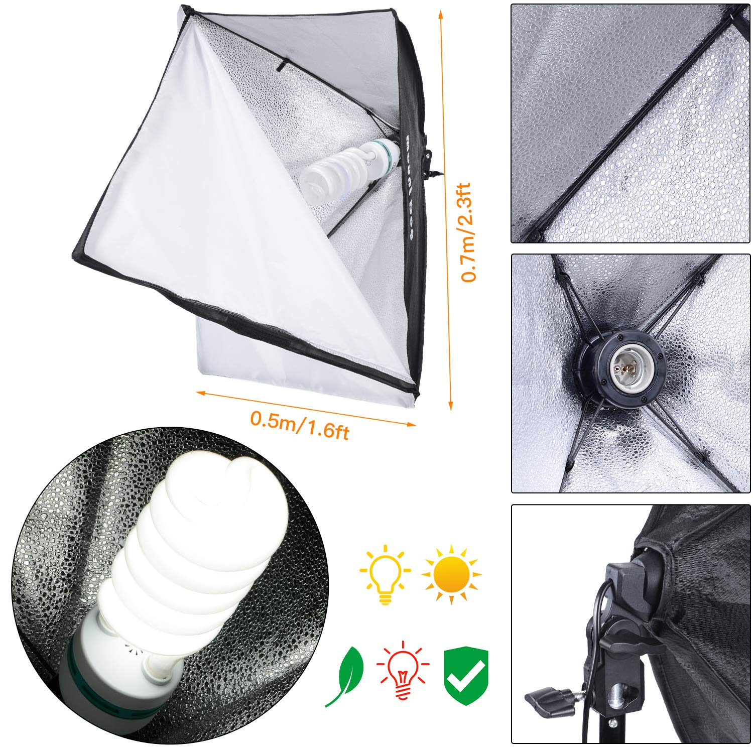 MOUNTDOG 1350W Photography Softbox Lighting Kit 20''X28'' Professional Continuous Light System with 3pcs E27 Video Bulbs 5500K Photo Studio Equipment for Filming Model Portraits Advertising Shooting by MOUNTDOG (Image #5)