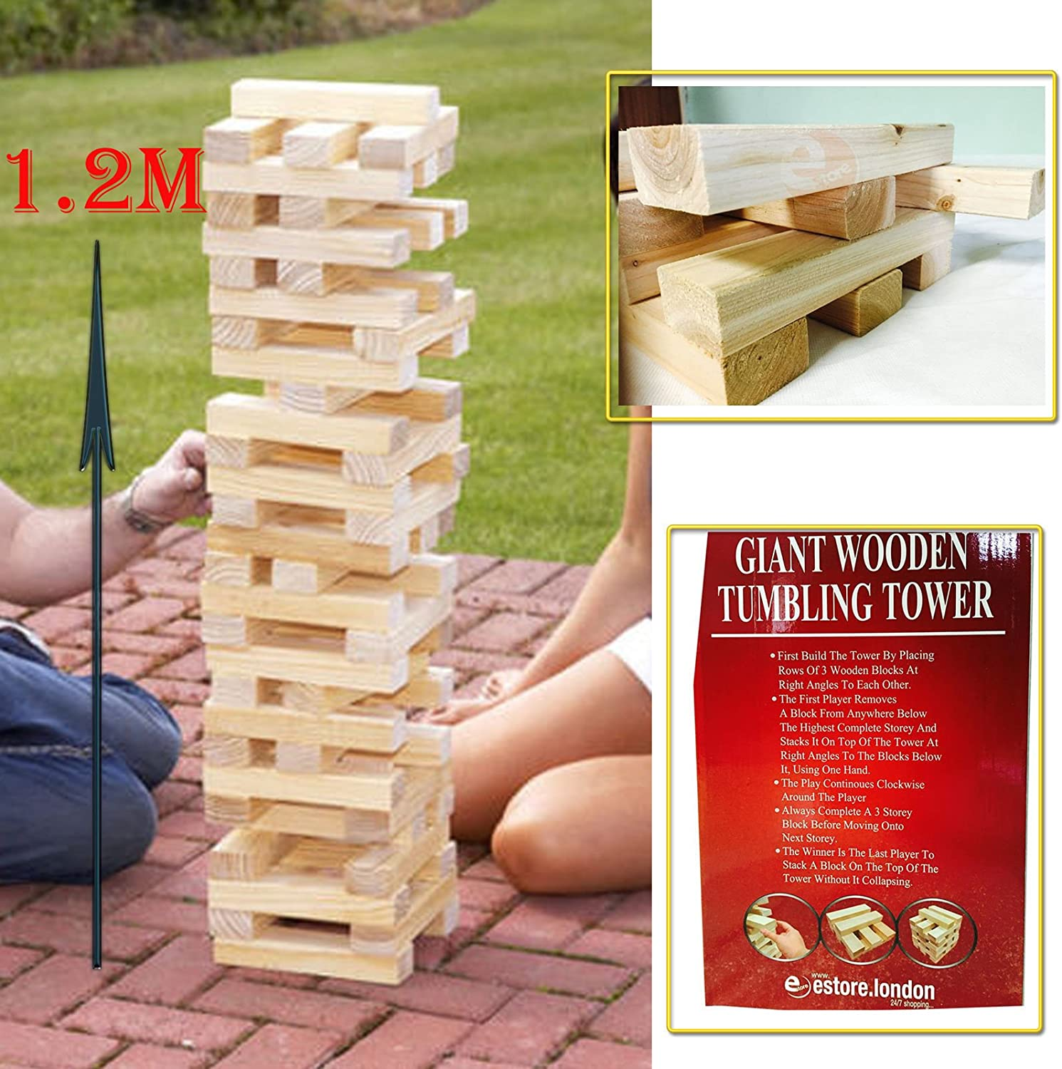 GIANT WOODEN TUMBLING JENGA TOWER GAME OUTDOOR INDOOR GARDEN FAMILY FUN GAMES by FANCYPOINT: Amazon.es: Juguetes y juegos
