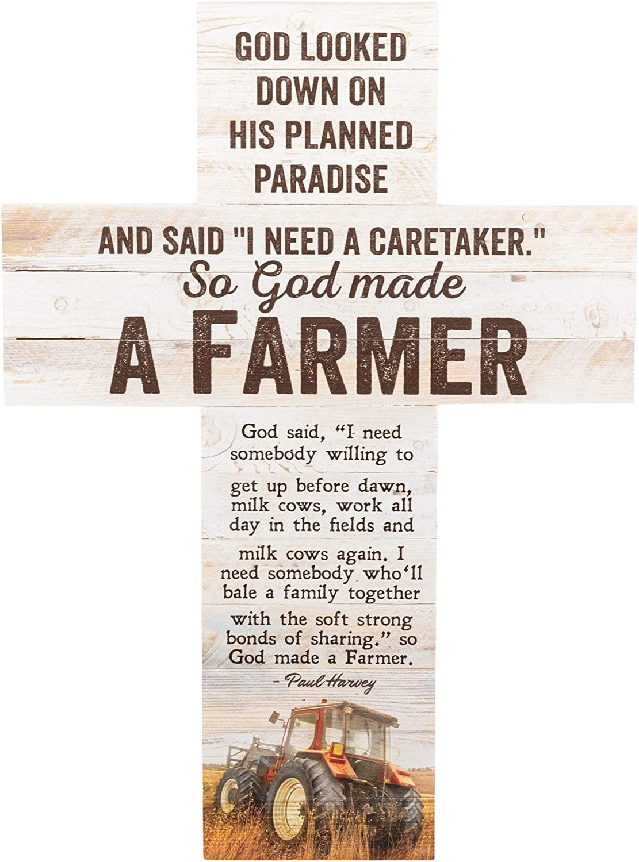 P. Graham Dunn So God Made a Farmer Tractor Rustic 20 x 14 Wood Wall Art Cross Plaque