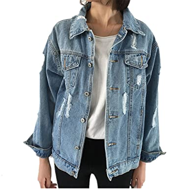 Jimmetfrend Women Slim Ripped Holes Denim Jacket Elegant Vintage Bomber Jacket Coats