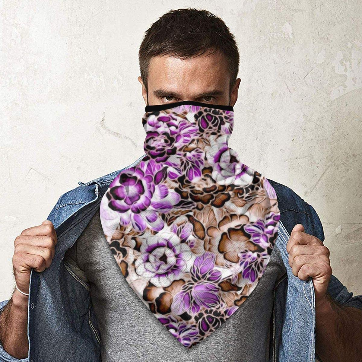 Seamless Vintage Flower Pattern Background Neck Gaiter Warmer Windproof Mask Balaclava Face Mask Sports Mask For Outdoor Men And Women Free UV Customized