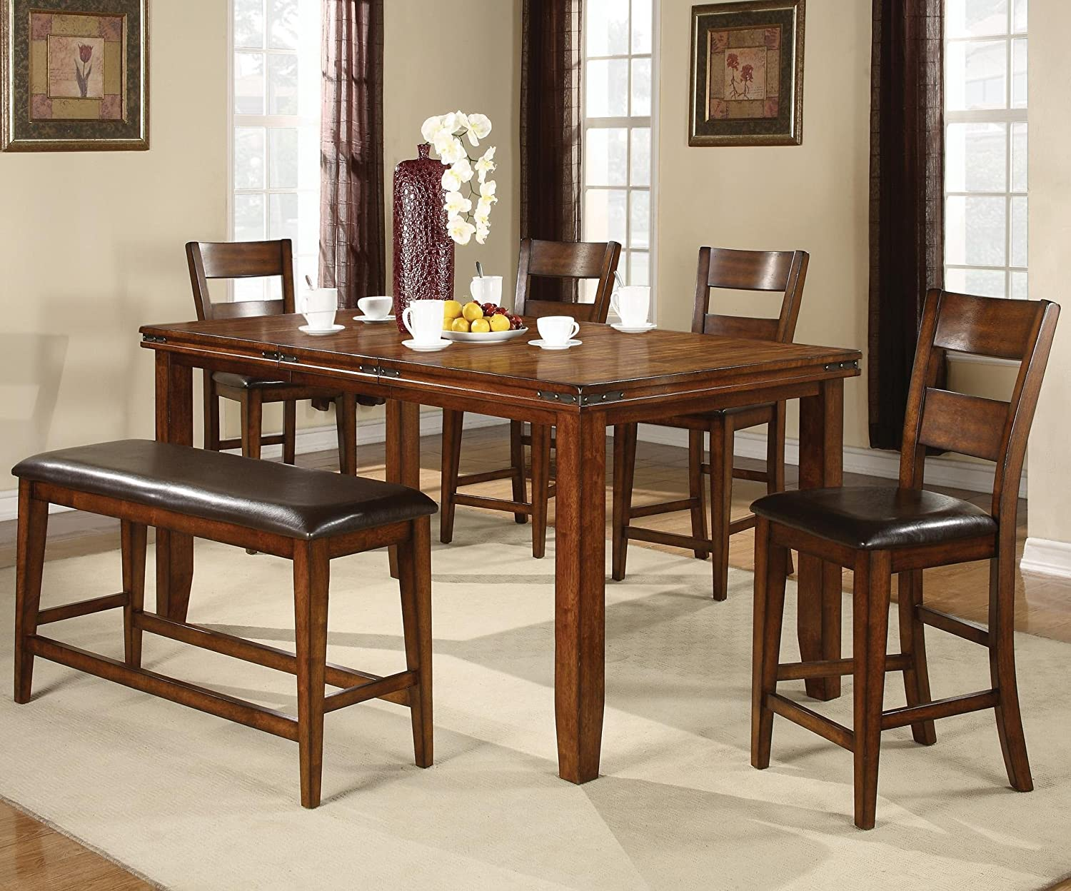 Amazoncom Figaro Counter Height 6pc Dining Set Table U0026 Chair Sets