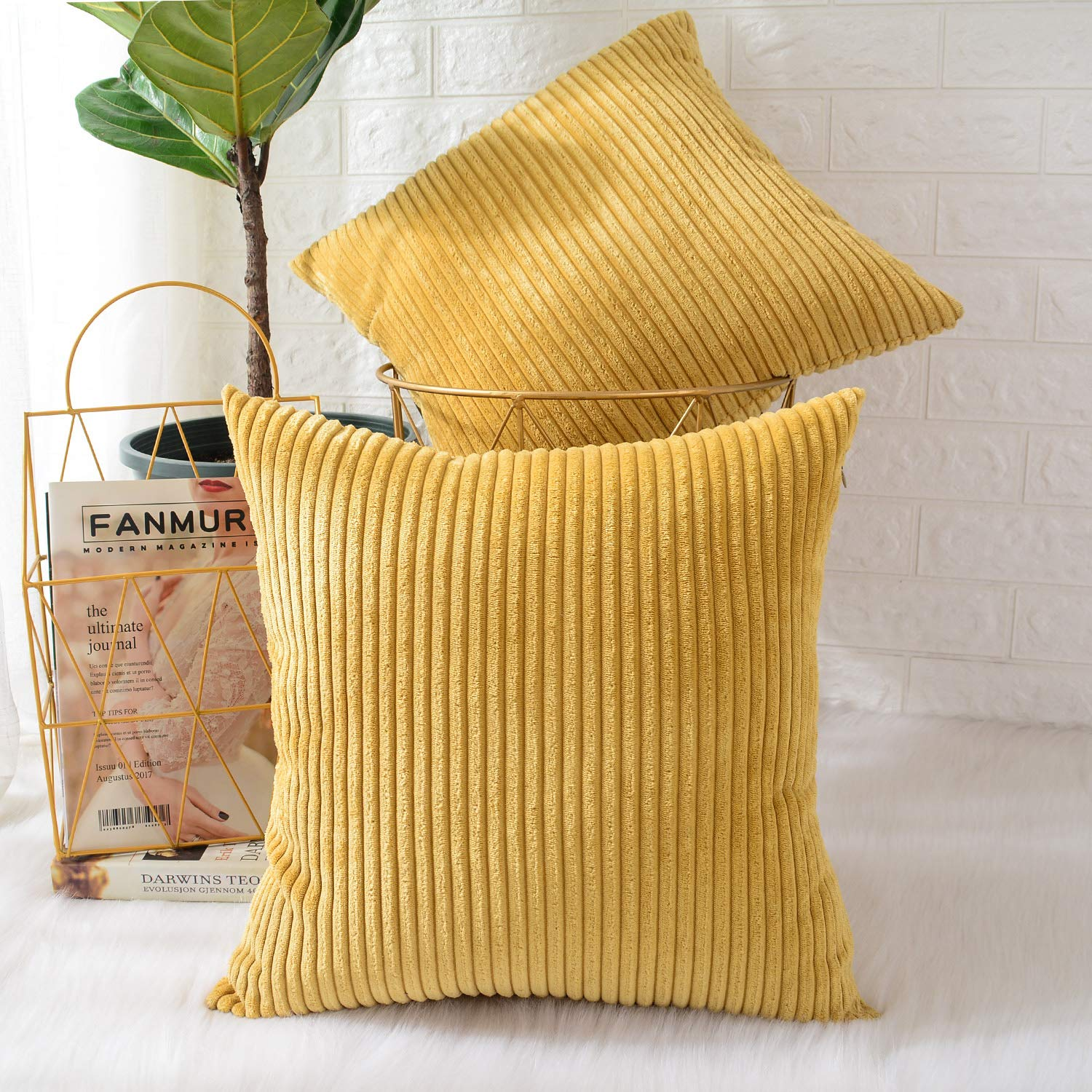 MERNETTE Pack of 2, Corduroy Soft Decorative Square Throw Pillow Cover Cushion Covers Pillowcase, Home Decor Decorations for Sofa Couch Bed Chair 18x18 Inch/45x45 cm (Striped Grass Yellow)