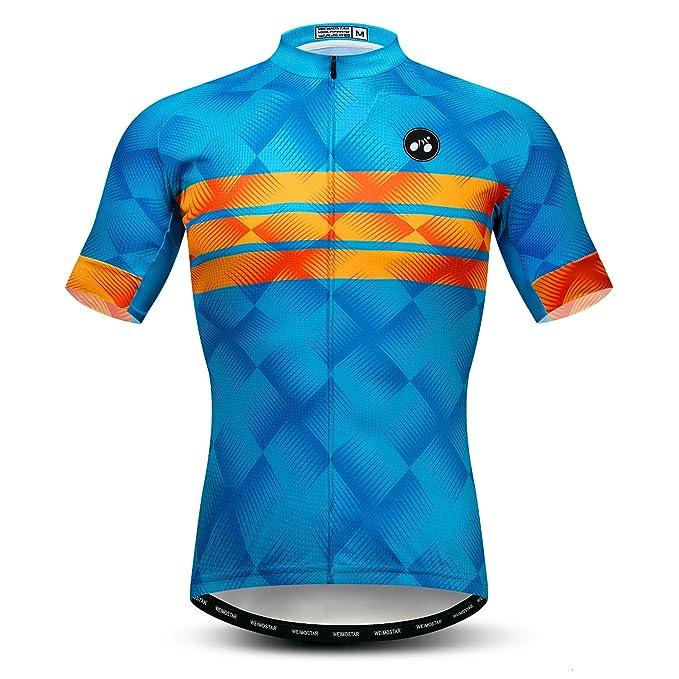 b183452df weimomonkey Mens Cycling Jersey Short Sleeve T Shirt Cycling Top Breathable  Bike Biking Shirts Blue S