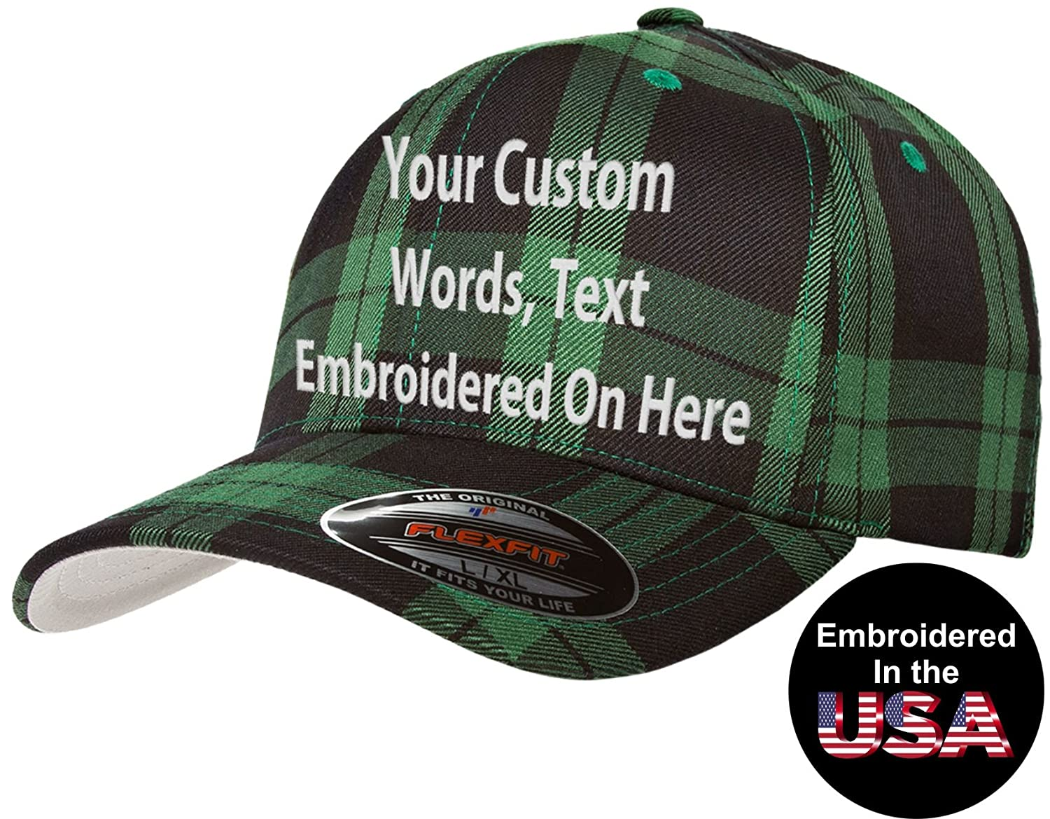 e60cbd449b8 Custom Hat Flexfit 6277 6533 Delta   More Embroidered. Your Own Text Curved  Bill at Amazon Men s Clothing store
