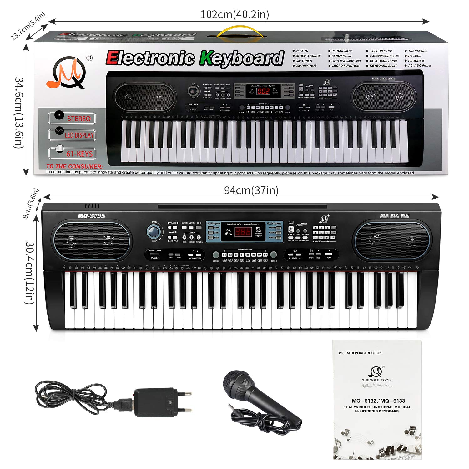ZJTL 61-Key Digital Electric Piano Keyboard &Music Stand &microphone- Portable Electronic Keyboard (Kids & Adults) MQ-6133 by ZJTL (Image #5)
