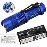 Sidiou Group 7W 300LM della mini del CREE LED torcia della torcia elettrica dello zoom del fuoco della lampada della luce-blu (3 modalità)