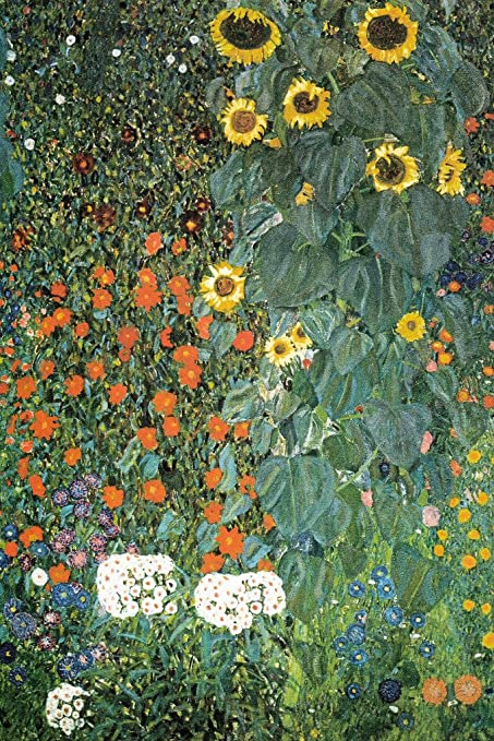 Gentil Gustav Klimt Farm Garden With Sunflowers Poster   12x18
