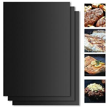 VEAMA BBQ Alfombrilla para grill, 3 Piezas Láminas Antiadherentes láminas Resistentes al calor para horno