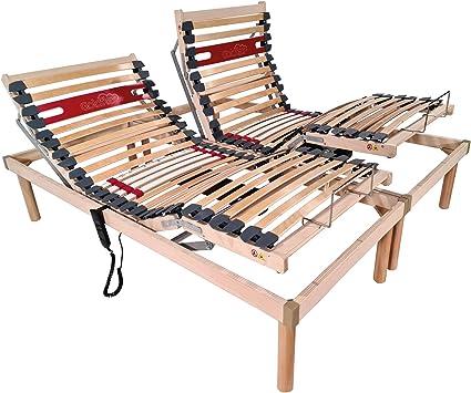 Goldflex - Somier eléctrico para cama matrimonial, con dos motores. ortopédico, 4 zonas, reclinable, estructura de madera y listones de madera de ...