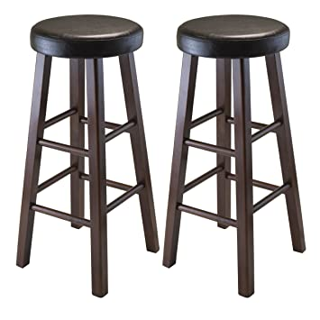 Winsome Wood Marta Assembled Round Bar Stool with PU Leather Cushion Seat and Square Legs  sc 1 st  Amazon.com & Amazon.com: Winsome Wood Marta Assembled Round Bar Stool with PU ... islam-shia.org