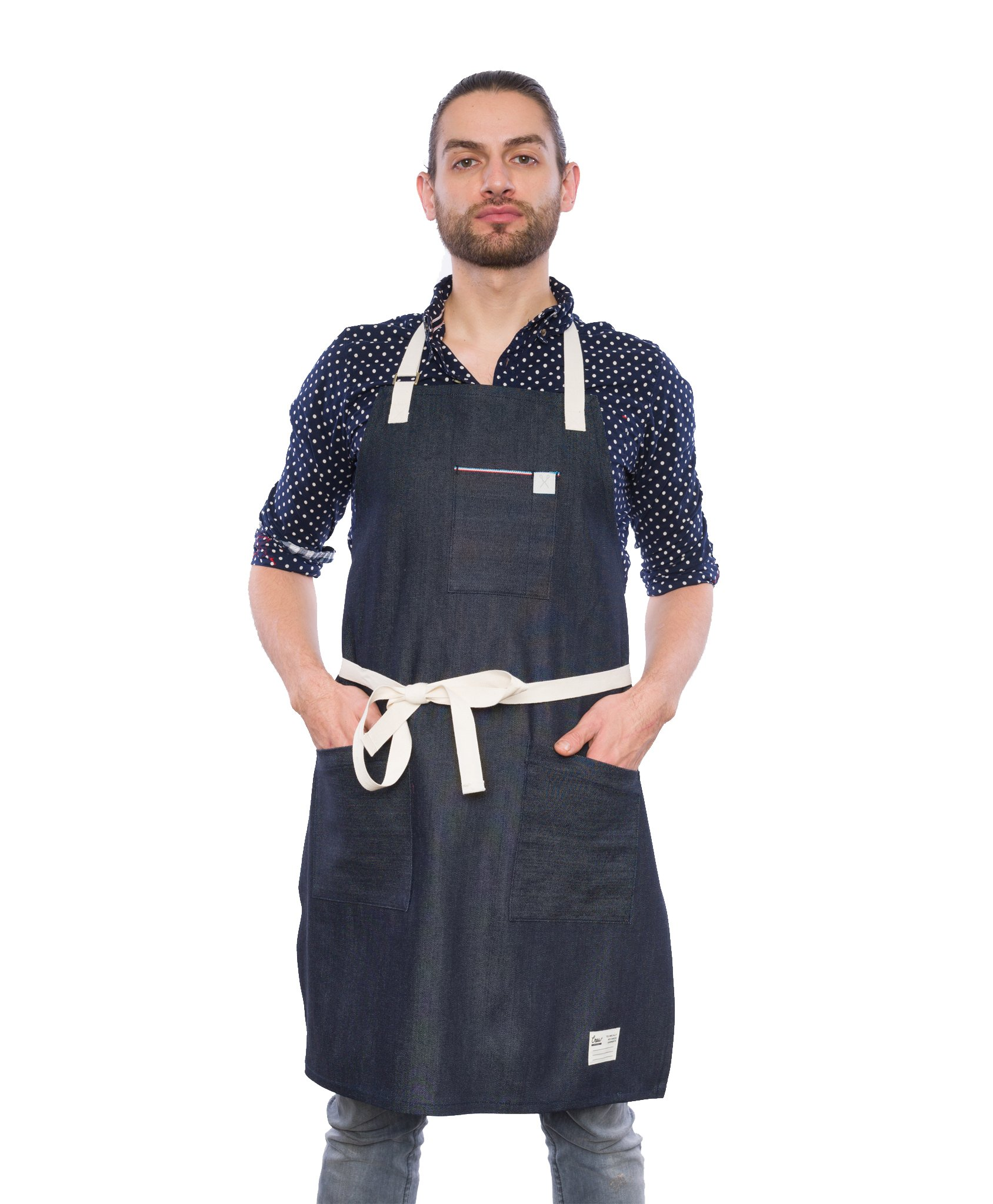 Crew Apparel TriColour Denim Standard Apron Made in USA by Crew Apparel