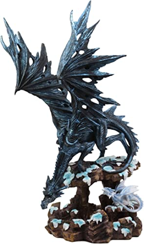 Ebros Large Night Fury Winter Dark Dragon with Frozen Ice White Baby Dragonling Hatchling Statue 18.5 Tall Dungeons Dragons Fantasy Home and Garden Decor Sculpture Medieval Renaissance Figurine