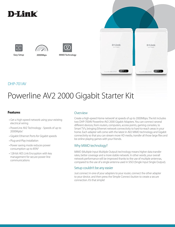 amazon com d link powerline av2 2000 adapter gigabit extender