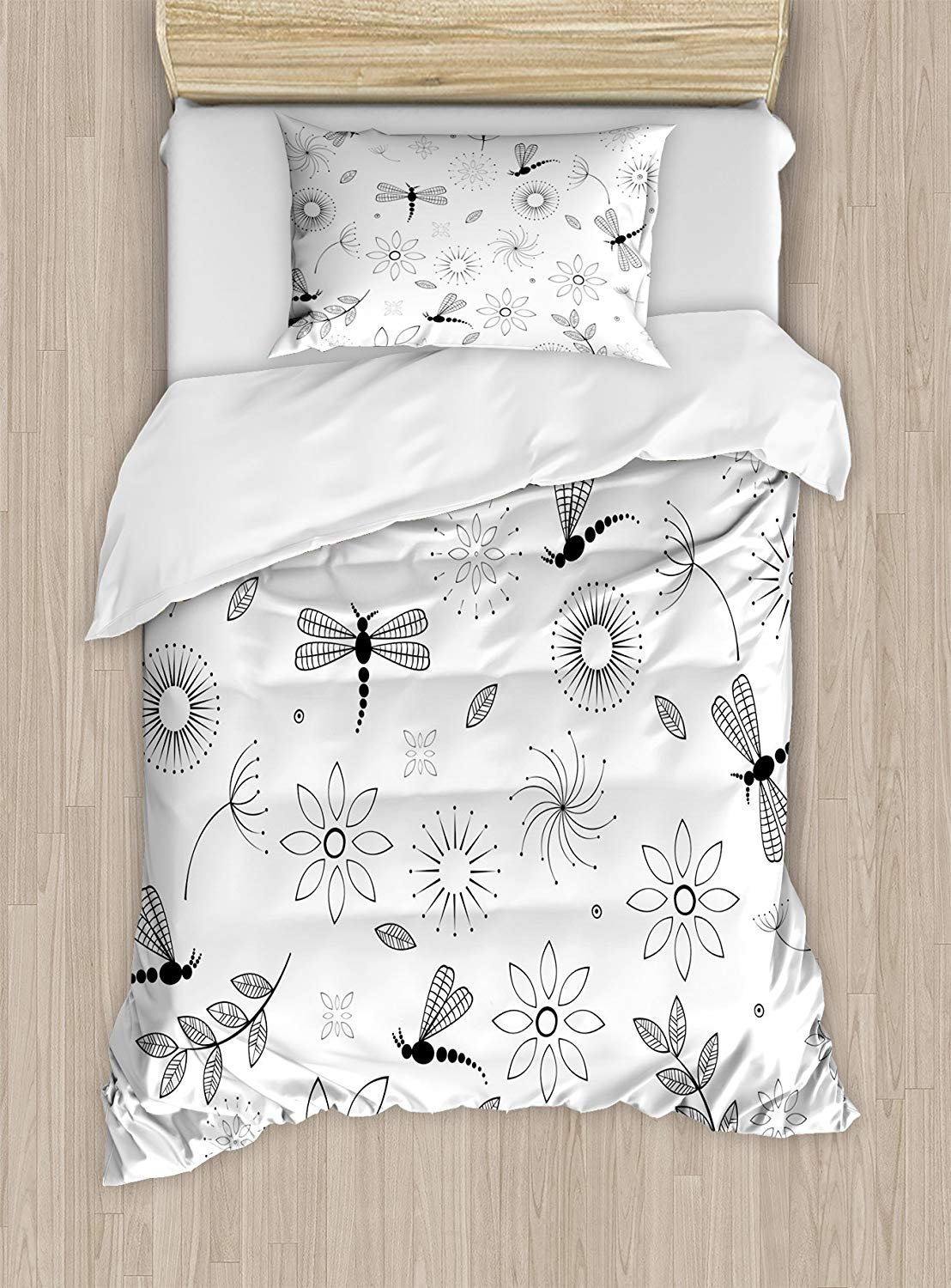 Twin XL Extra Long Bedding Set, Dragonfly Duvet Cover Set, Ethnic Bohem Inspired Flying Butterfly Like Bugs and Flowers Dandelion Image, Cosy House Collection 4 Piece Bedding Sets