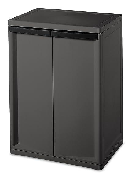 Amazon.com - Sterilite 01403V01 2 Shelf Cabinet, Flat Gray Cabinet ...
