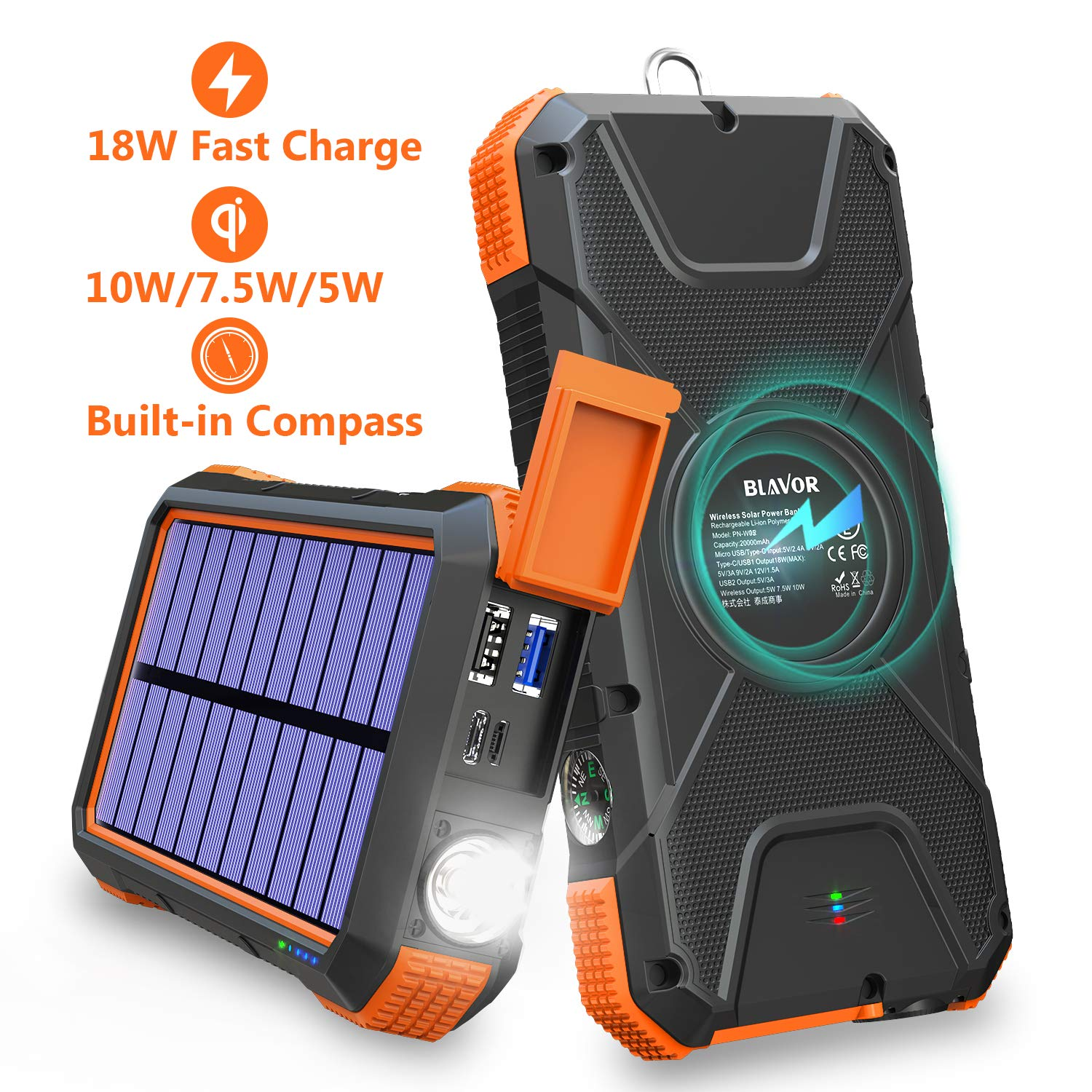 BLAVOR Solar Charger Power Bank 18W, QC 3.0 Portable Wireless Charger 10W/7.5W/5W with 4 Outputs & Dual Inputs, 20000mAh External Battery Pack IPX5 Waterproof with Flashlight & Compass (Orange) by BLAVOR
