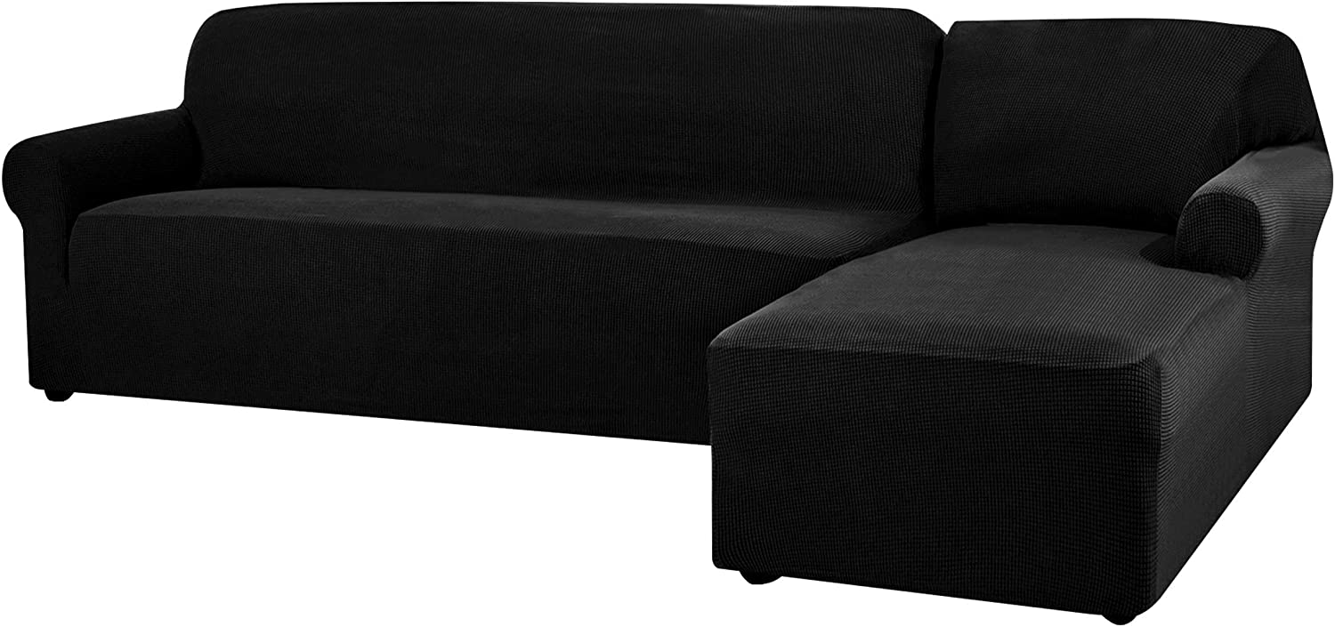 CHUN YI Stretch Sectional Couch Covers Soft L-Shaped Sofa Slipcovers with Elastic Bottom , Jacquard Chaise Lounge Set for Living Room 2 Seat Protector(Right Chaise,Black)