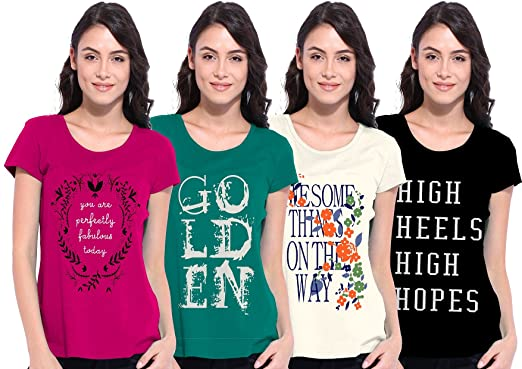 8b7153a73 Ladies Half Sleeve Pack of 4 T Shirt ( Season IV - Combo 1 ) (Medium ...