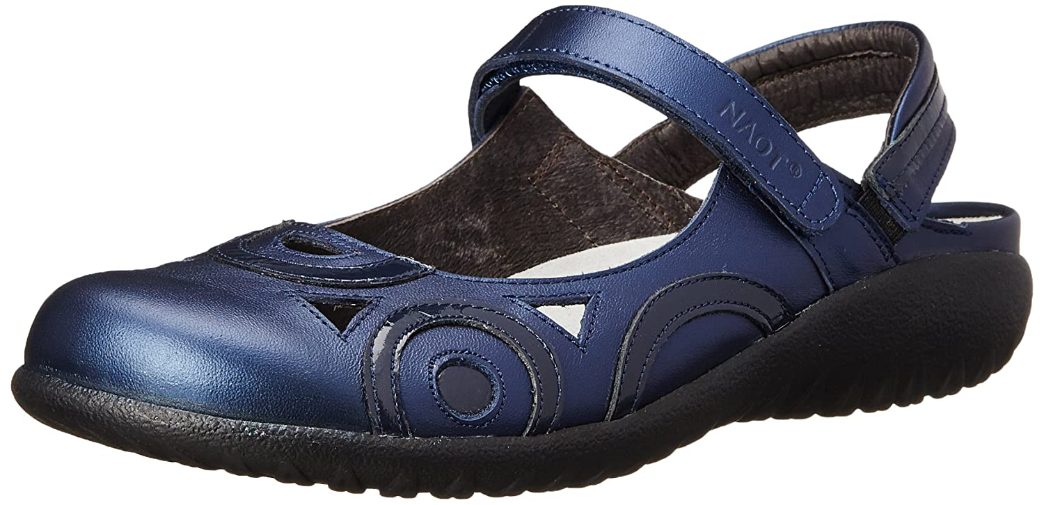 NAOT Women's Rongo Mary Jane Flat B00S7DP6MY 40 EU/8.5-9 M US|Polar Sea Leather/Navy Patent Leather