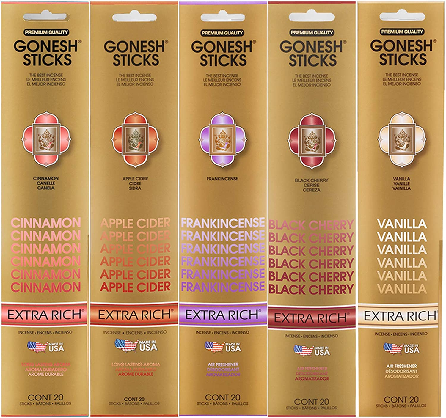 Gonesh Incense Extra Rich Collection Variety Pack, 5 Packs, 20 Sticks Each (Cinnamon, Apple Cider, Frankincense, Black Cherry, Vanilla)