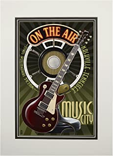 product image for Nashville, Tennesseee - Guitar and Microphone (11x14 Double-Matted Art Print, Wall Decor Ready to Frame)