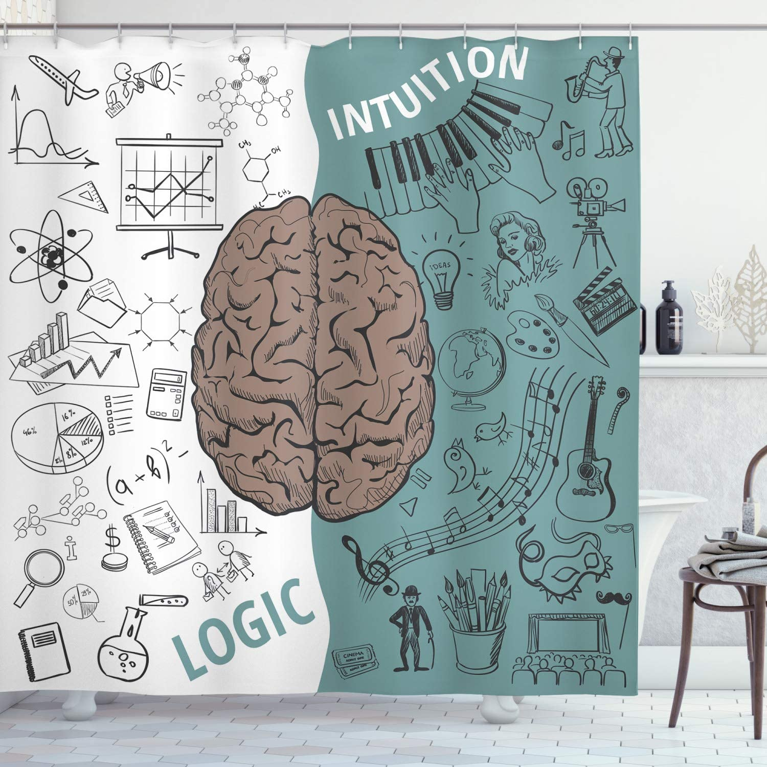 Ambesonne Modern Shower Curtain, Brain Image with Left and Right Side Music Logic Artwork Side Science Print, Cloth Fabric Bathroom Decor Set with Hooks, 70
