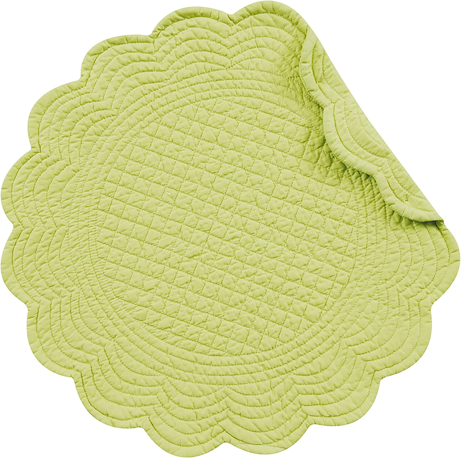 C&F Home Apple Green Round Cotton Quilted Placemat Set of 4 Round Placemat Apple Green