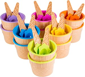 Green Direct Plastic Sundae Ice Cream Frozen Yogurt Cups with Spoons - Ice Cream Dessert Bowls Pack of 24