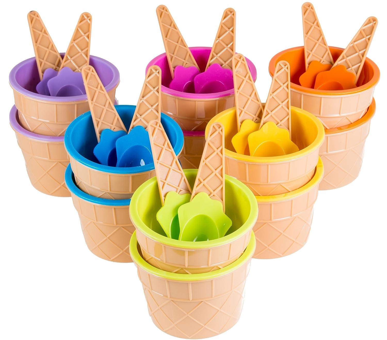 Green Direct Plastic Sundae Ice Cream Frozen Yogurt Cups with Spoons - Ice Cream Dessert Bowls Pack of 12 4335473925