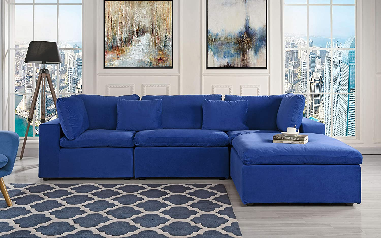 Stupendous Classic Large Velvet Sectional Sofa L Shape Couch With Wide Chaise Dark Blue Download Free Architecture Designs Scobabritishbridgeorg
