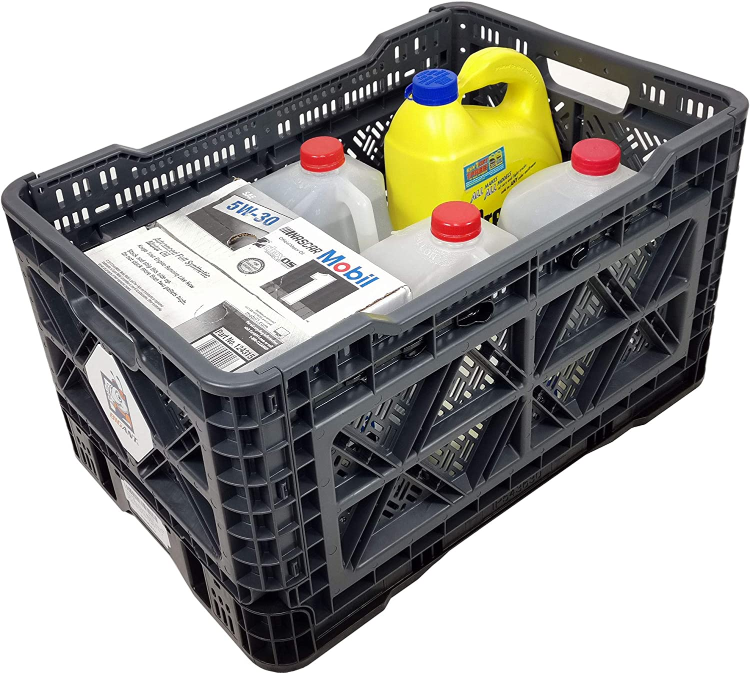 BIGANT Heavy Duty Collapsible & Stackable Plastic Milk Crate - IP543630, 12.7 Gallons, Medium Size, Charc.Gray, Set of 1, Snap Lock Foldable Industrial Garage Storage Bin Container Utility Basket