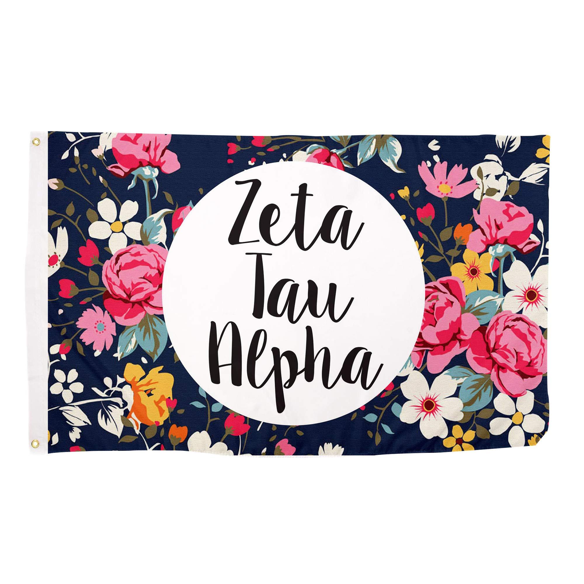 Zeta Tau Alpha Floral Sorority Flag Greek Letter Use as a Banner Large 3 x 5 Feet Sign Decor Zeta by Desert Cactus