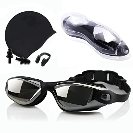 Swimming Goggles Black in Hard Protective Casing
